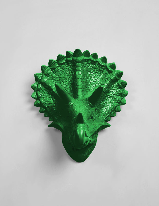 The Cera in Kelly Green, Triceratops Dinosaur Head Wall Mount