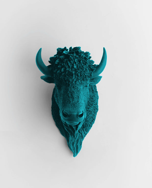 The Mellby in Petrol | Bison Head | Faux Taxidermy | Petrol Resin