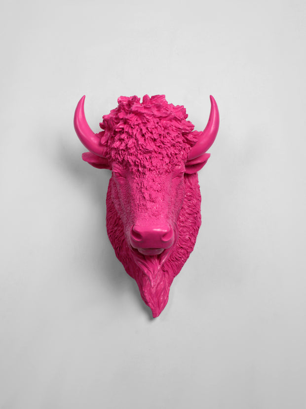 The Mellby in Pink | Bison Head | Faux Taxidermy | Pink Resin