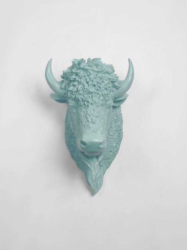 The Mellby in Powder Blue | Bison Head | Faux Taxidermy | Powder Resin