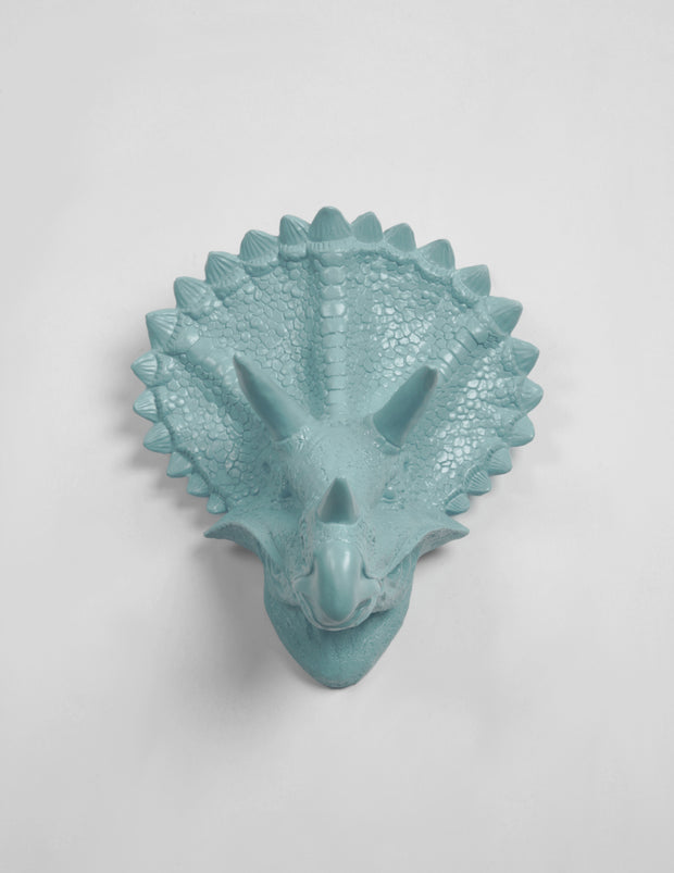 Power-Blue Triceratops Head Wall Hanging.