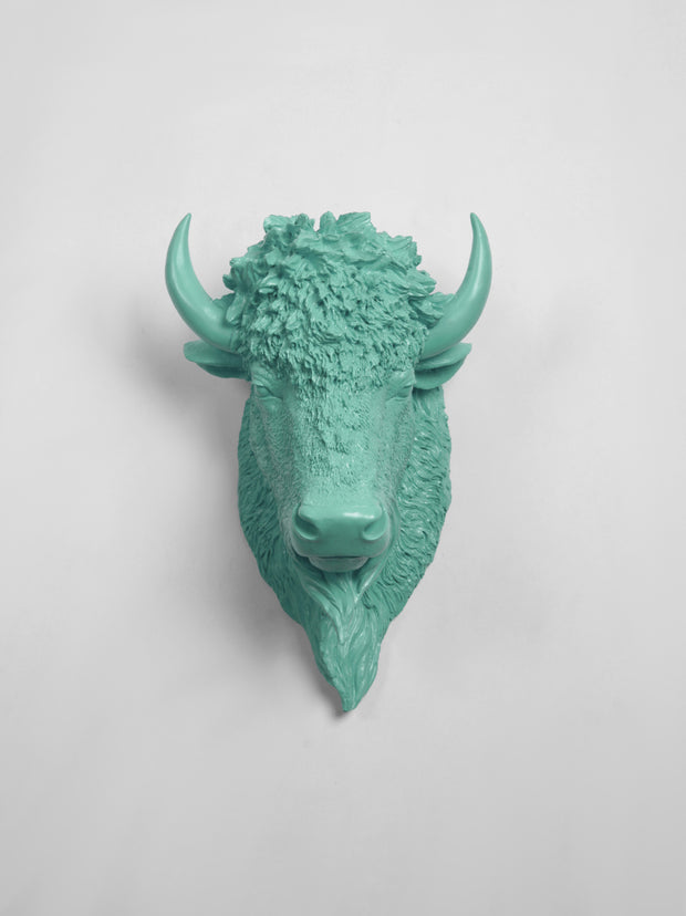The Mellby in Seafoam | Bison Head | Faux Taxidermy | Seafoam Green Resin