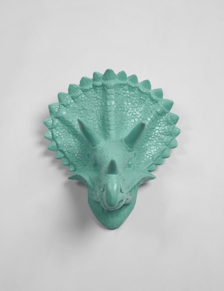 The Cera in Seafoam, Triceratops Dinosaur Head Wall Mount