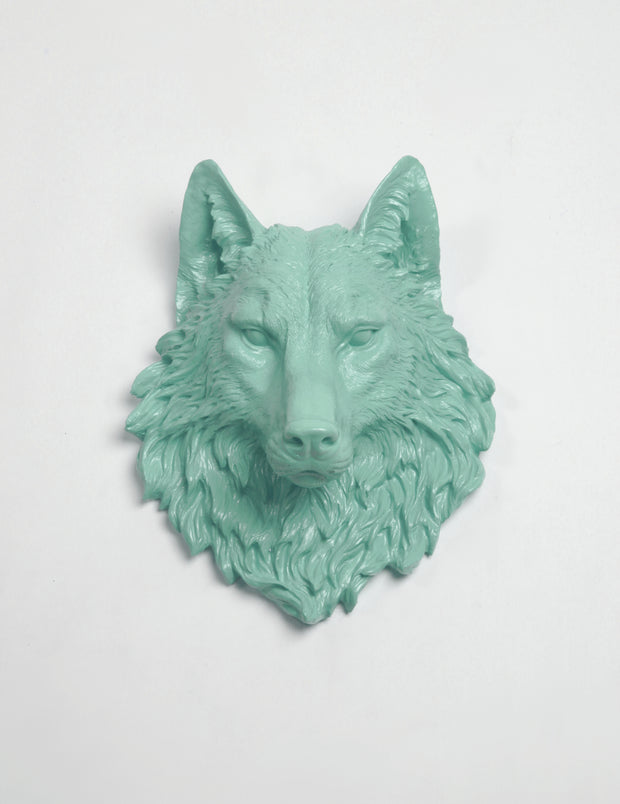 Faux Wolf Head The Lincoln in Seafoam Green - Resin Wolf Mount by White Faux Taxidermy - Chic & Trendy Faux Animal Heads
