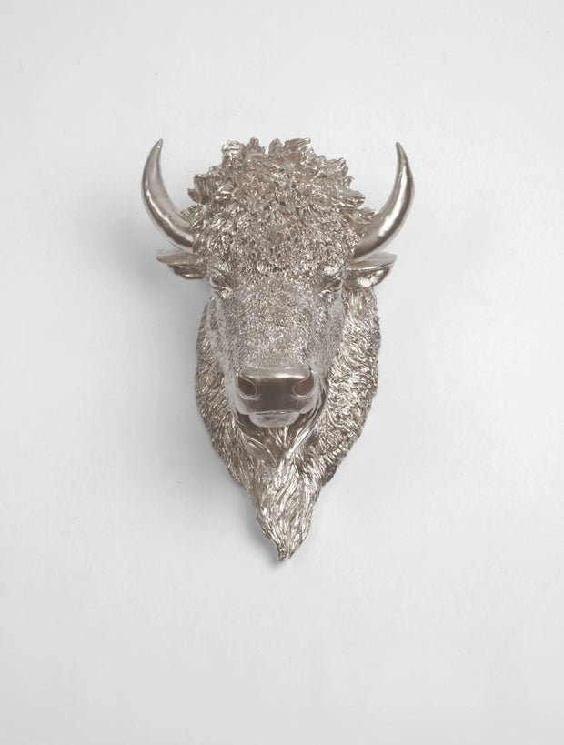 The Mellby in Silver | Bison Head | Faux Taxidermy | Silver Resin