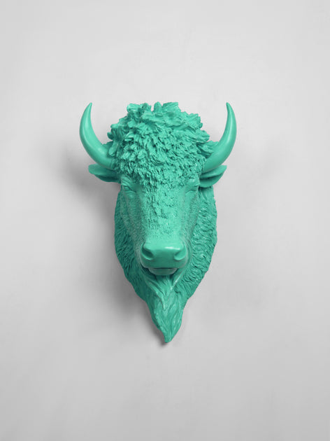 The Mia Faux Taxidermy Bison Head Wall Mount In Turquoise