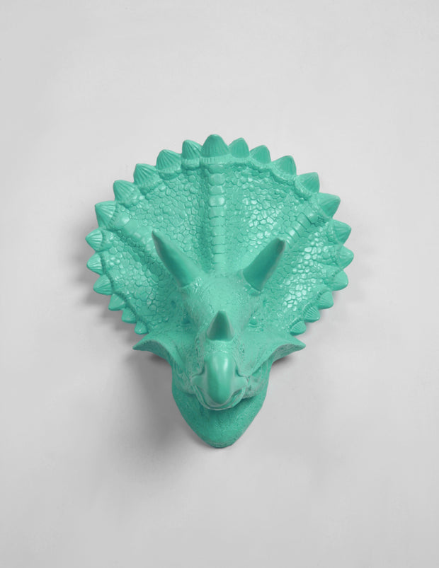 The Cera in Turquoise, Triceratops Dinosaur Head Wall Mount