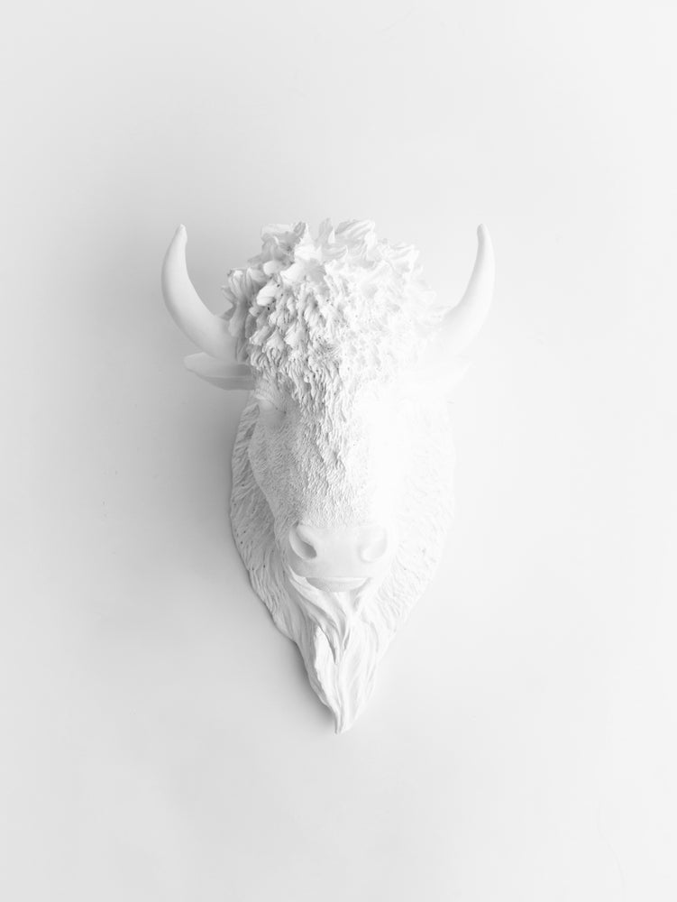 The Mellby | Bison Head | Faux Taxidermy | White Resin
