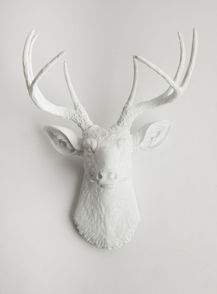 The Templeton, Large Faux White Deer Head Wall Mount