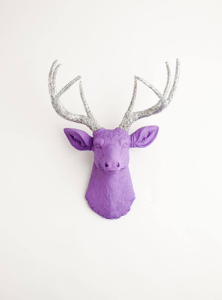 purple deer head with silver glitter antlers wall mount