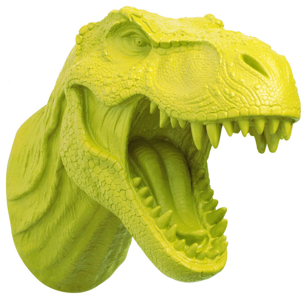 lime t rex dinosaur head trophy wall mount