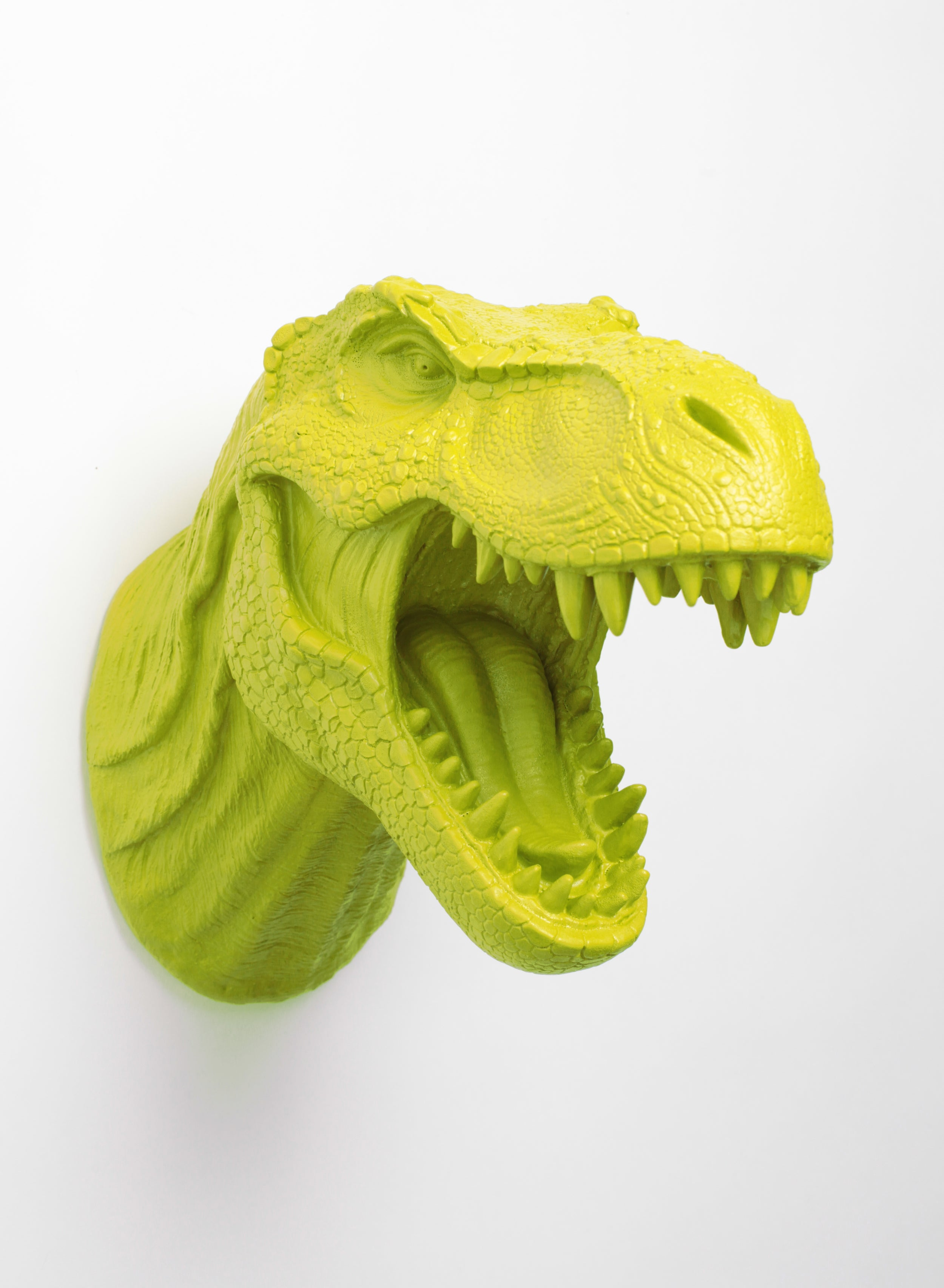 The Mason, Mantis-Green Dinosaur Head Wall Mount – White Faux Taxidermy