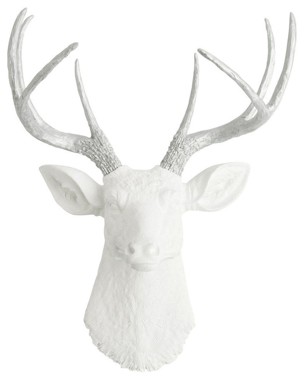 aluminum-colored resin deer antlers, white faux deer head wall mount