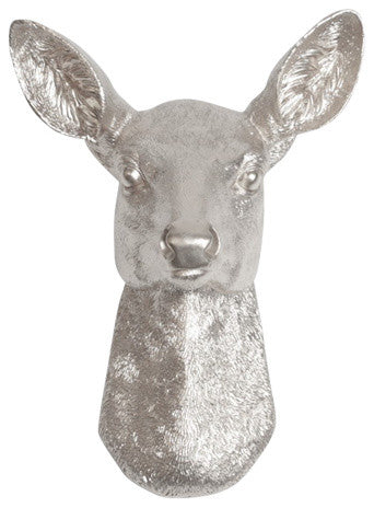Aluminum / Silver Resin faux doe deer head without antlers wall sculpture by White Faux Taxidermy