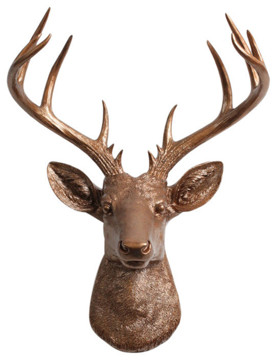 Bronze Xl Deer head Sculpture Wall Decor