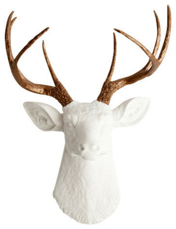 metallic bronze faux deer antlers, white faux deer head wall mount