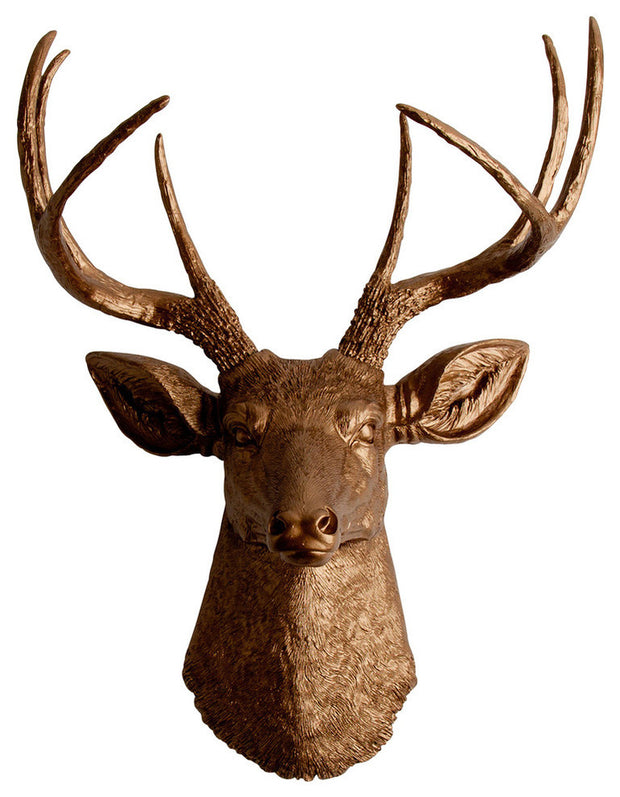 metallic bronze faux deer head wall sculpture