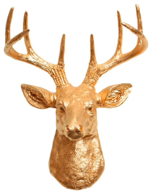 gold ceramic-like resin mini mounted deer head sculpture wall decor
