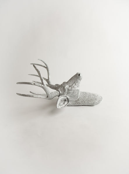 The Hesher | Silver Stag Deer Head | Faux Taxidermy | Resin Wall Ornament