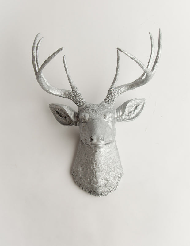 Silver Metallic Wall Art Fake Deer Head, The Hesher. aluminum colored resin faux buck head wall mount