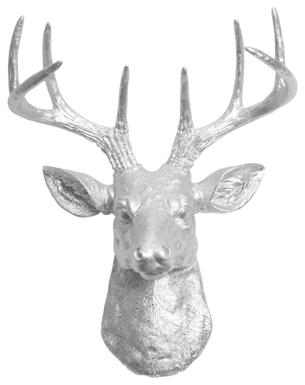 metallic aluminum ceramic-like resin mini mounted deer head sculpture wall decor