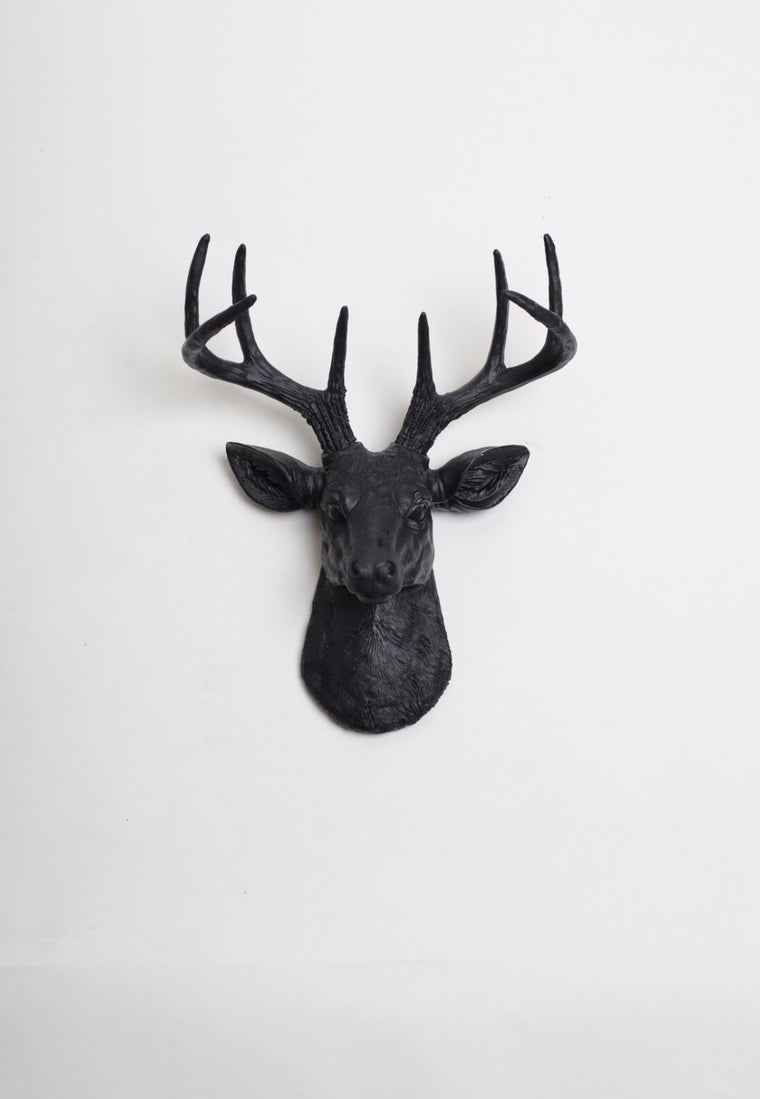 Faux deer head wall decor by white faux taxidermy the mini ignatius stag deer head faux taxidermy black resin amipublicfo Image collections