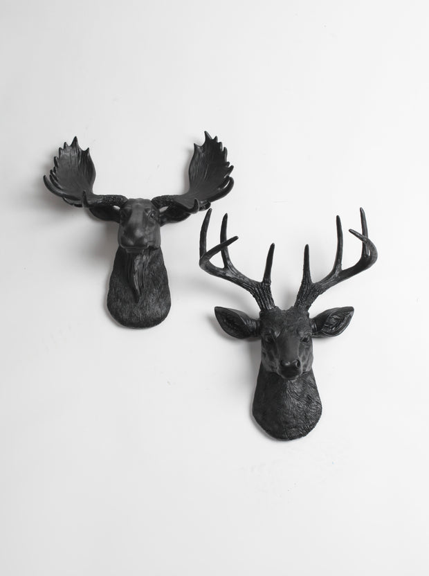Mini Moose & Deer Wall Decor | Black Moose and Stag | Mini Wall Art Gift Set
