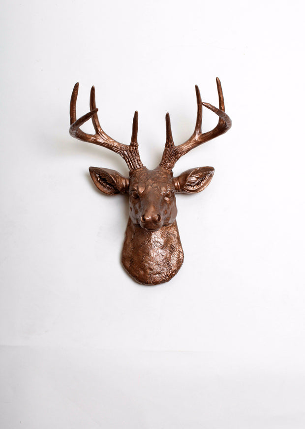 Bronze Mini Stag Head Wall Mount. bronze ceramic-like resin mini mounted deer head sculpture wall decor