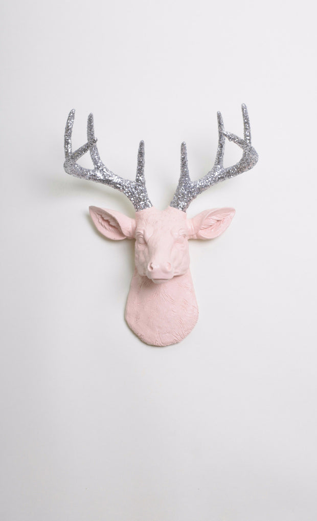 Glitter & Blush Pink Deer Head Wall Mount. mini cameo-pink resin buck head sculpture & silver-glitter antler decor wall hanging