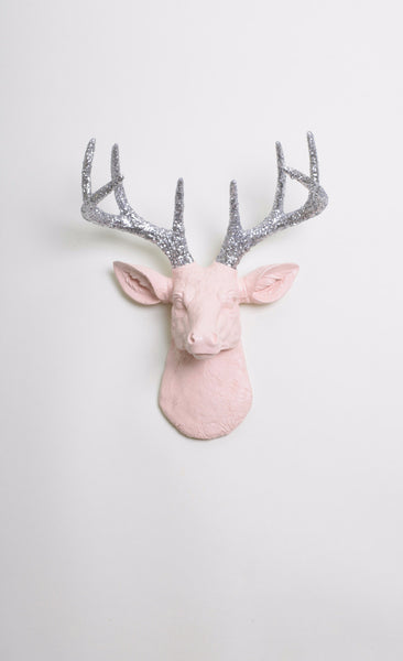 The MINI Briley | Stag Deer Head | Faux Taxidermy | Cameo Pink w/Silver Glitter Antlers