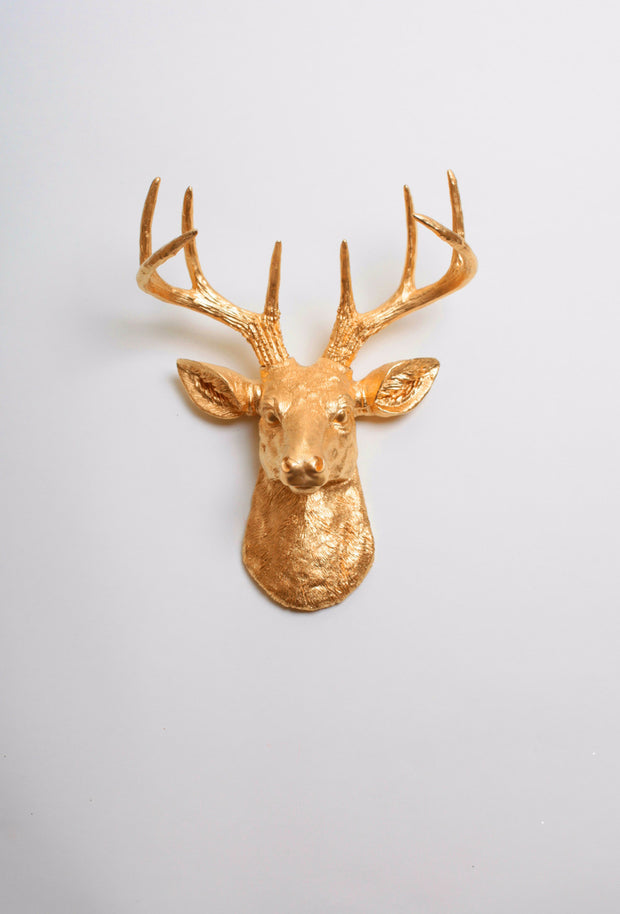 Mini Gold Deer Head Wall Mount. gold ceramic-like resin mini mounted deer head sculpture wall decor