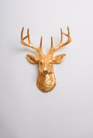 The MINI Franklin | Stag Deer Head Decor | Faux Taxidermy | Gold Resin