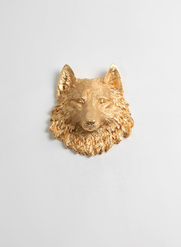 The Otis Gold Mini Wolf Head Wall Mount