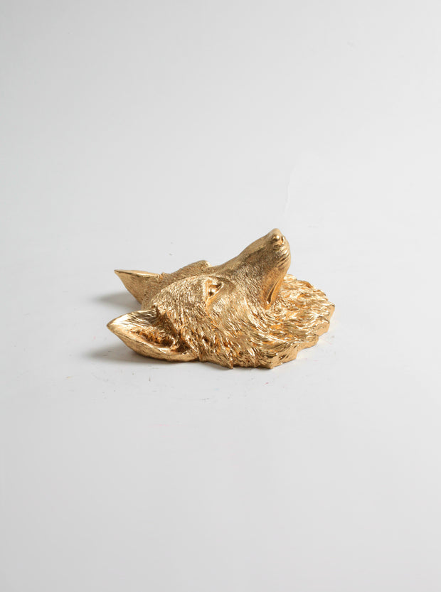 The Otis | Mini Wolf Head | Faux Taxidermy | Gold Resin