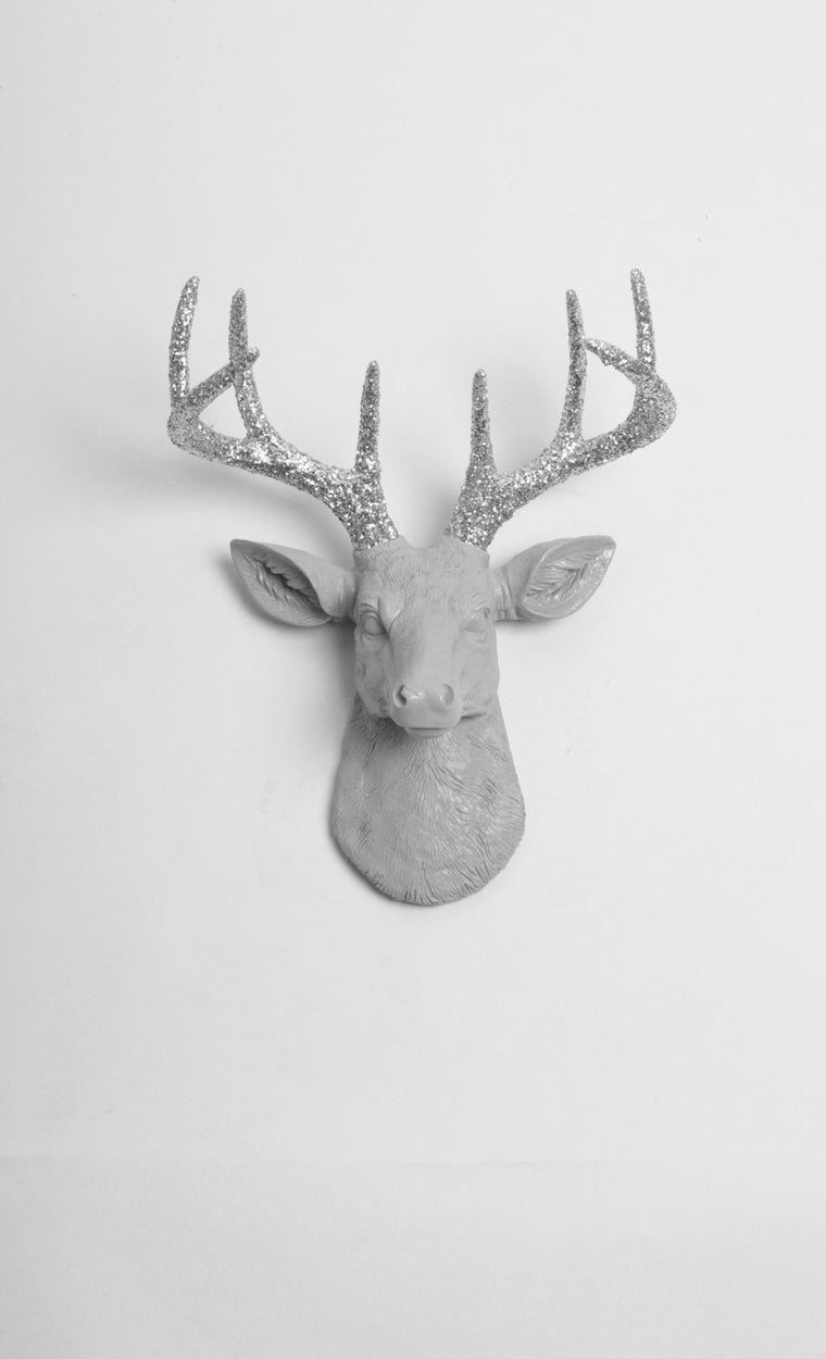 The MINI Dane | Stag Deer Head | Faux Taxidermy | Gray Resin w/Silver Glitter Antlers