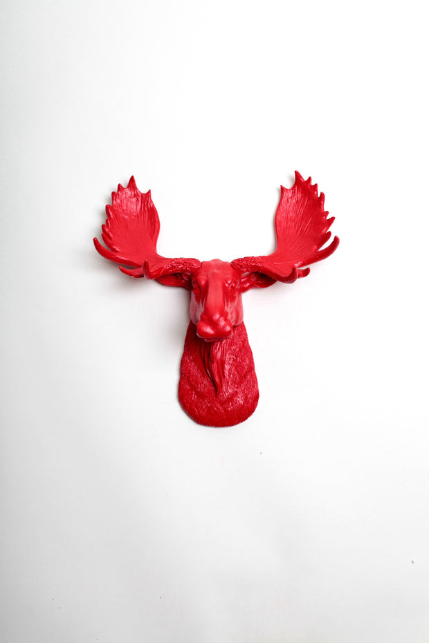 "Mini Red Moose Head Wall Mount, 13.5"" tall"