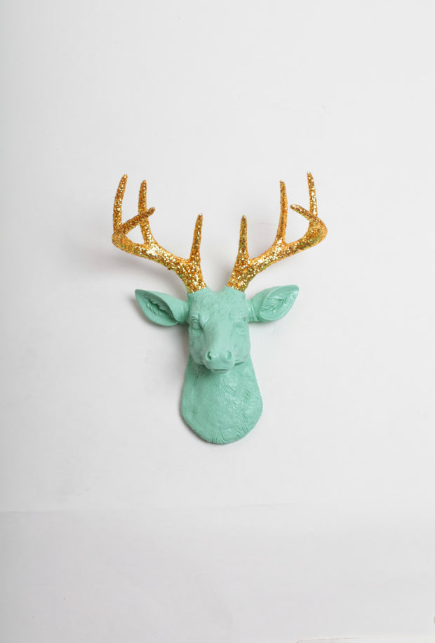 The Mini Arnie, Seafoam-Green Faux Deer Head Wall Mount with gold-glitter antlers