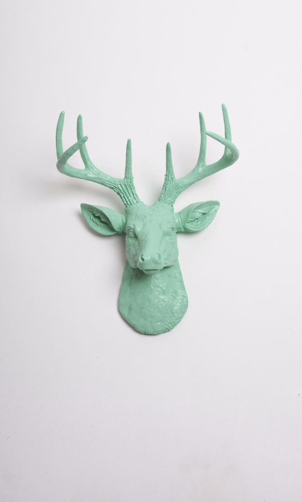 Mini Seafoam Green Deer Head Wall Mount. seafoam green ceramic-like resin mini mounted deer head sculpture wall decor