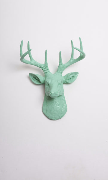 Mini Seafoam Green Deer Head Wall Mount