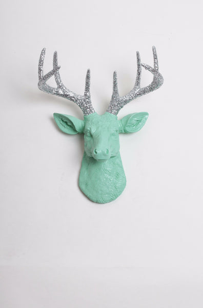 The MINI Agnes | Stag Deer Head | Faux Taxidermy | Seafoam Resin w/Silver Glitter Antlers