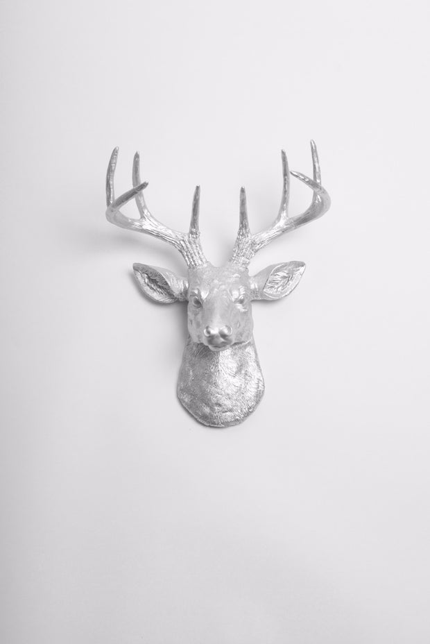 wall mounted stag head silver. metallic aluminum ceramic-like resin mini mounted deer head sculpture wall decor