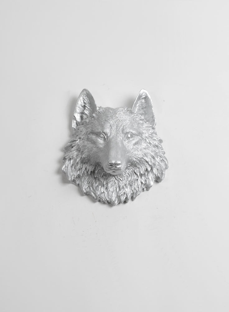 The Frisco | Mini Wolf Head | Faux Taxidermy | Silver Resin