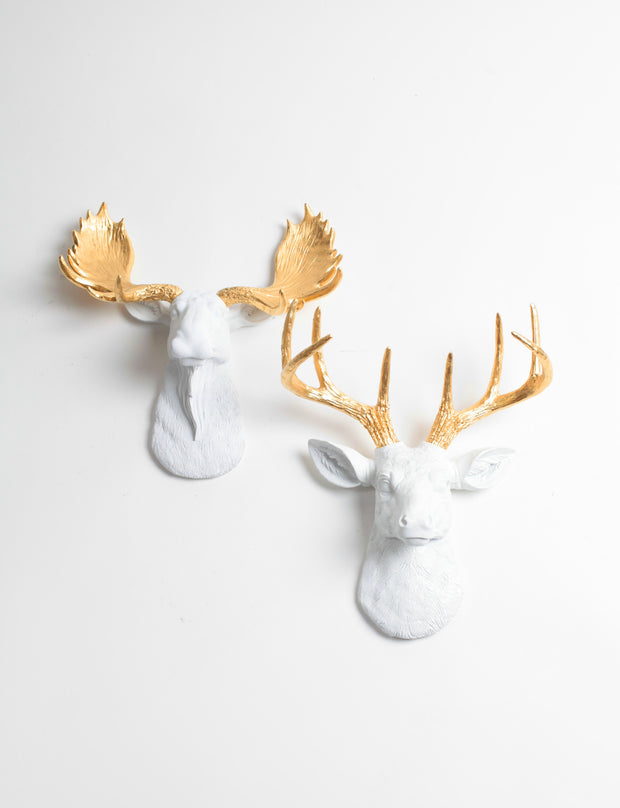 Mini Moose & Deer Wall Decor | White & Gold Moose  and Stag | Mini Wall Art Gift Set