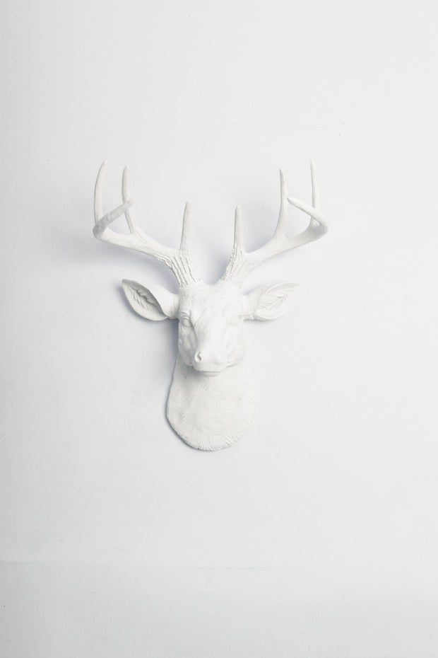 white ceramic-like resin mini mounted deer head sculpture wall decor