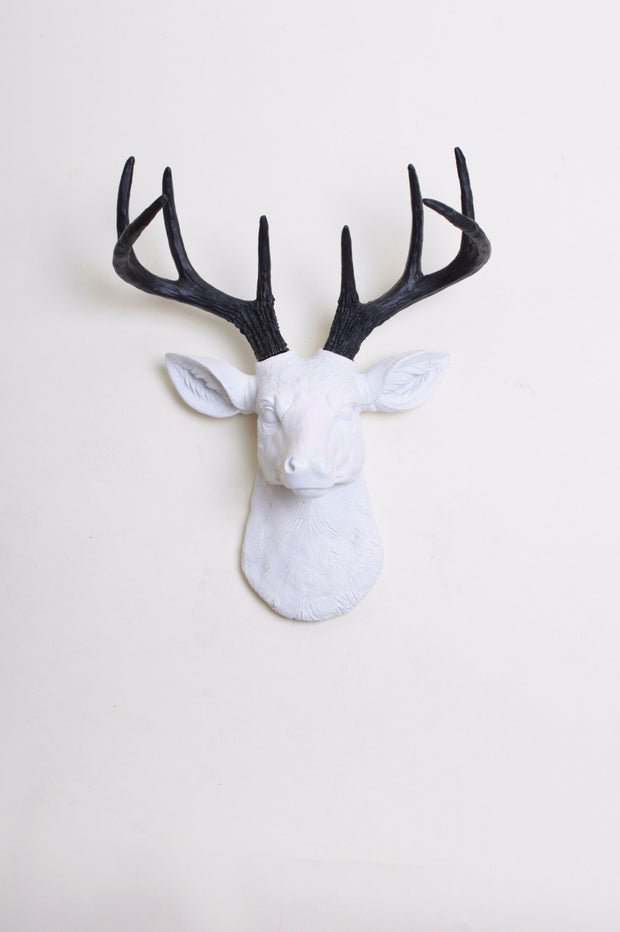 Mini White & Black Stag Head Wall Mount. mini white resin deer head sculpture & black antler decor wall hanging