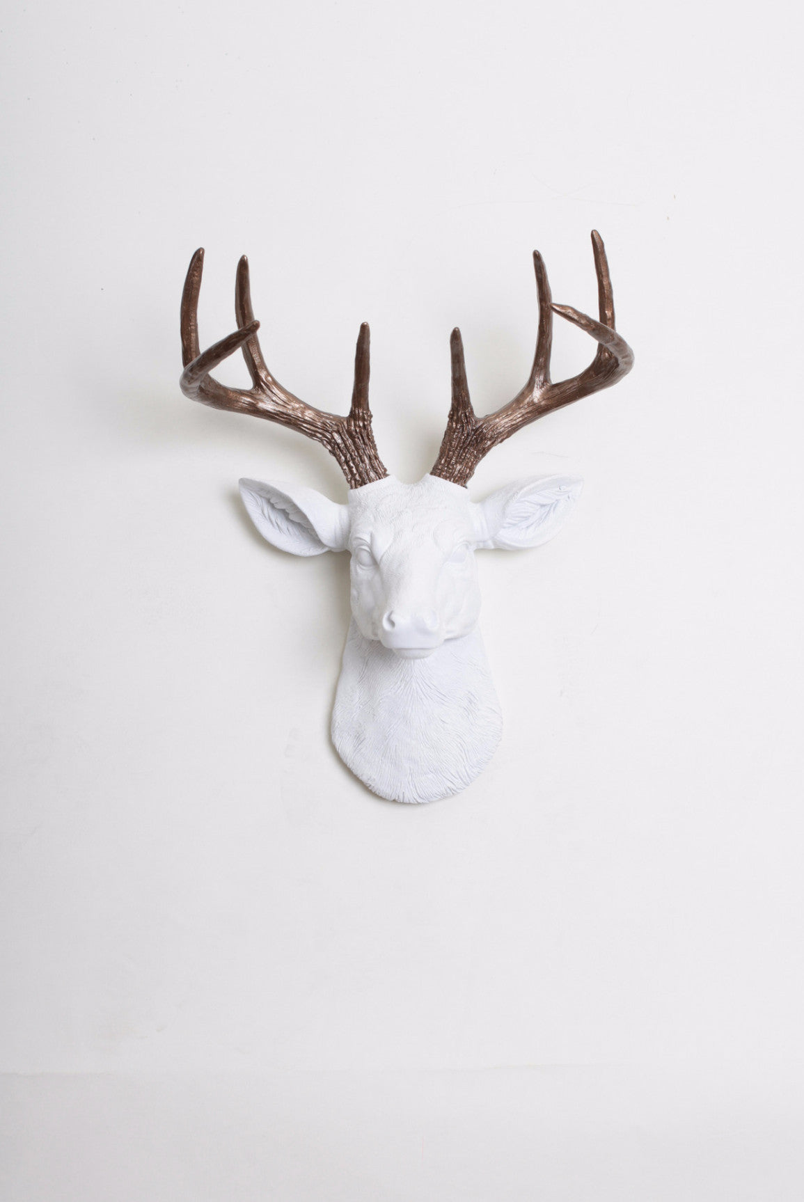 The MINI Lydia | Faux Deer Head Wall Art  | White Resin Stag w/Bronze Antlers