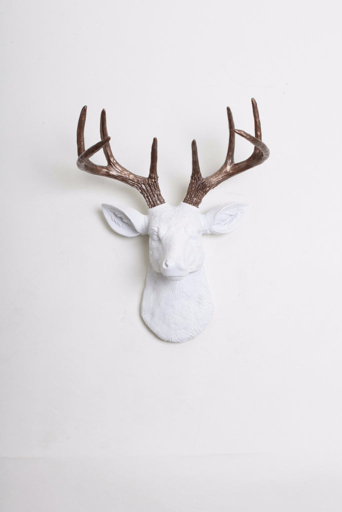 White Deer Head Wall Mount Bronze Antlers Faux Mini