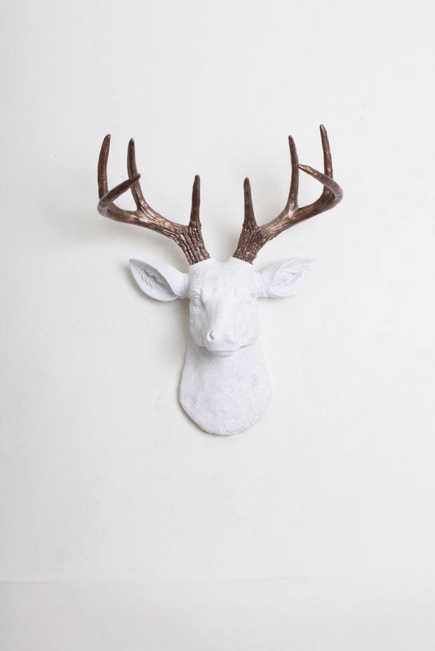 Bronze Faux Antler Stag Head, Mini Lydia. mini white resin deer head sculpture & bronze antler decor wall hanging