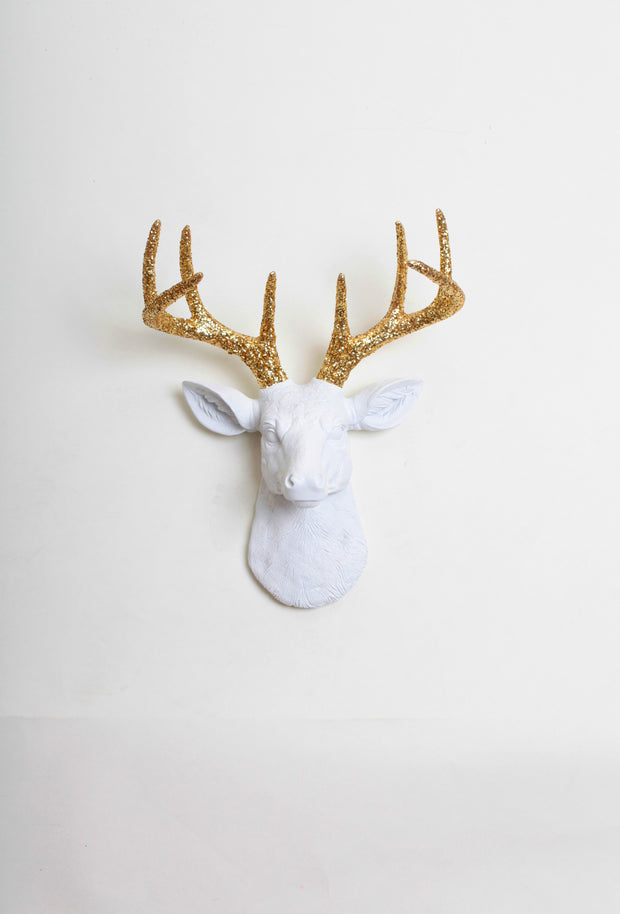 mini white resin deer head sculpture & gold glitter antler decor wall hanging
