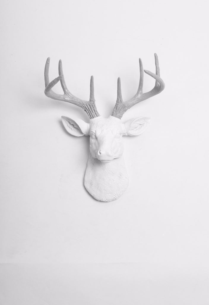 Mini White Deer Head Wall Mount W Grey Antlers Faux